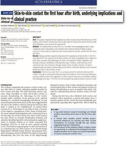 Skin-to-Skin Article - Underlying Implications and Clinical Practice