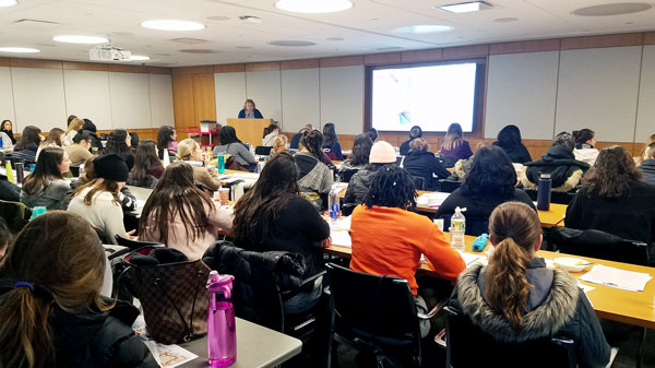 Healthy Children Project's Karin Cadwell addresses a room full of learners at a recent Lactation Counselor Training Course.