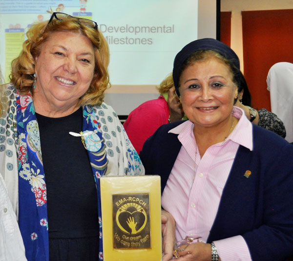 Dr. Abla al Alfy (pictured at right) and Karin Cadwell at the 2019 International Breastfeeding Conference