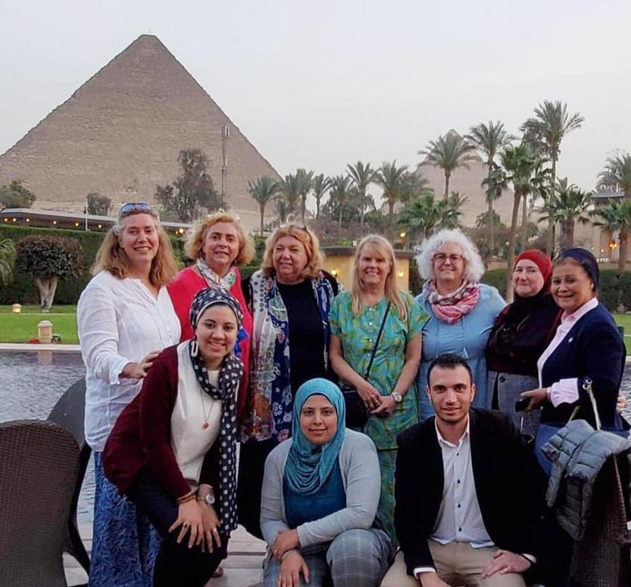 Healthy Children Project's Kajsa Brimdyr, Anna Blair, Karin Cadwell, and Cindy Turner-Maffei with Abla al Alfy and colleagues